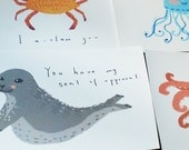 Pack of 5 - Valentine Sea Animals postcards/giclée prints (or individual)