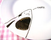 Shark Plate with Gold Teeth on porcelain featuring a hand drawn illustration