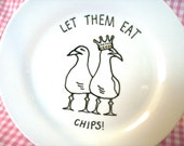 Jubilee Decorative Plate in porcelain with seagull illustration - Let Them Eat Chips
