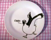 Painted seagull Plate in porcelain with hand drawn illustration