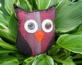 pepper the owl - mini plush felt and recycled upholstery owl