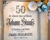 PIANOFORTE  BOOK NOTES Strauss Album Antique in good condition