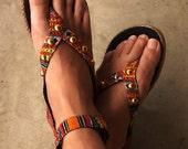 SALE Embroidery sandals, beaded ethnic orange