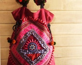 Patchwork hot pink tote // embroidery // tribal // hippie  // red // ooak // colorful // slouch bag // ethnic