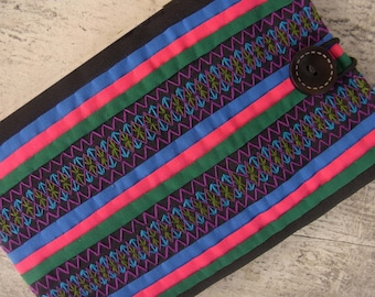 Multi stripe Kindle Sleeve // padded // stitch // embroidery // needlework // pink // blue // pastel // colorful // multi stripe