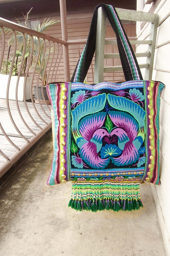 30% OFF, Bohemian purple tote with fringe