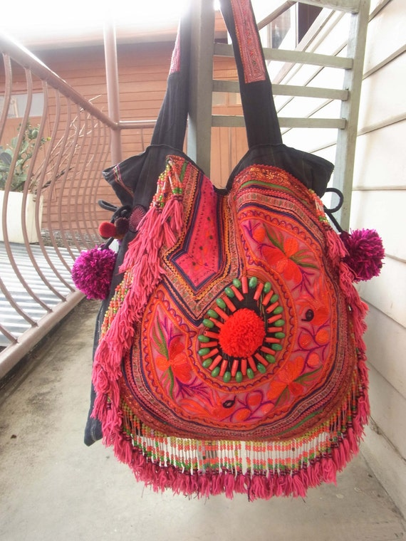 Ethnic Fringe Tote Bag with chunky pom pom /// Gypsy // embroidery // tribal // pink // violet // purple // tassel