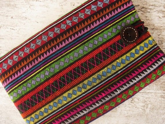 Kindle 3 fire sleeve padded cover //  colorful //  stitch // needlework // navajo // multi stripe // exotic // embroidery // mexican