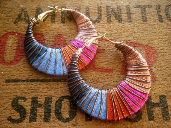 RESERVE JUDY CUSTOM Setting Sun Fiber and Wire Wrap Earrings