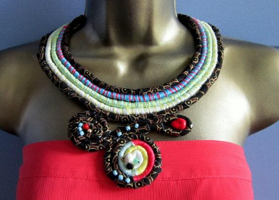 SALE Fabric Wrap Collar Fiber and Beaded Bib Statement Necklace CLEO Black Coral Aqua