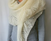 Knitted SHAWL  white cream  / ready to ship now