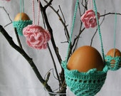 SALE / EASTER decoration - 3 hanging crochet eggs baskets GREEN