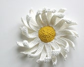 crochet flower brooch  CHAMOMILE / ready for shipping /SALE / 20 % OFF /