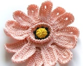 SALE / 20 % off / crochet flower brooch  PINK  ASTER / ready for shipping