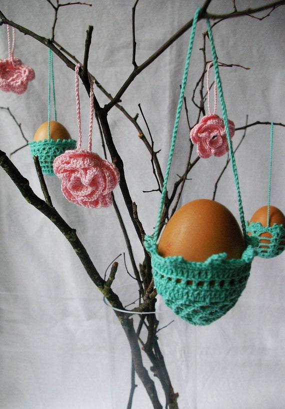SALE / EASTER decoration - 3 hanging crochet eggs baskets GREEN