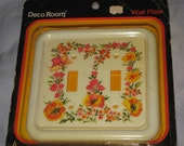 Fun vintage  Double Light Switch Wall Plate Flower Deaign Mint In Package Spring Garden