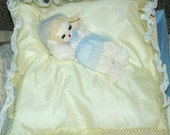 Rare Pajama PJ Bag PILLOW Mint In Original Box 1950s With Doll Yellow White Flocked Dotted Swiss
