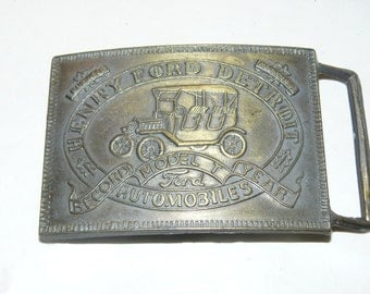 Vintage Belt Buckle Henry Ford Detroit MODEL T Car Buckle