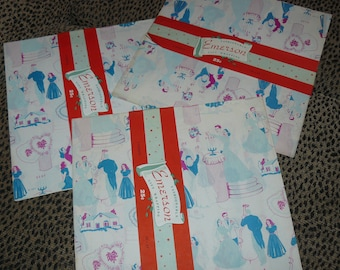Original ANTIQUE Wedding Wrapping Paper 1930s 1940s Gift Wrap