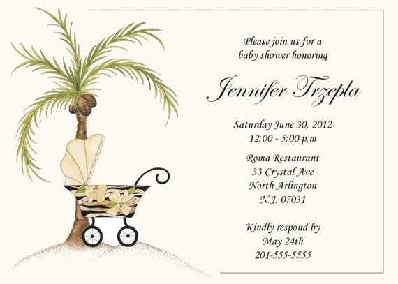 items similar to personalized baby shower invitation -palm tree, Baby shower invitations