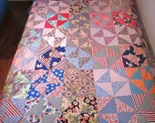Vintage Old Quilt Top Homemade 1930's - 1940's  COUPON CODE AVAILABLE