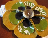 Felt/Vintage Fabric Hair Bow for Baby or Little Girl - Mustard/Green