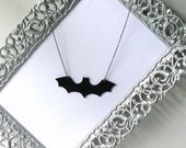Batwings - hand cut black vinyl record upcycled necklace