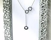 three circles necklace black Cascading Bubbles - repurposed vinyl record jewelry