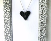 heart necklace upcycled be still my black heart  recycled vinyl record jewelry
