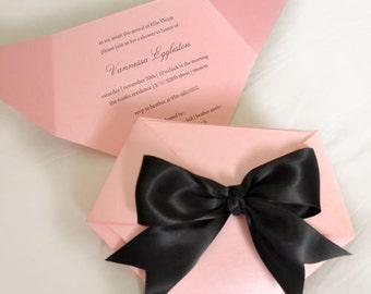 Diaper Baby Shower Invitation, Pink and Black Diaper Invitation, Diaper Shaped Invite, Die Cut Diaper Invitation