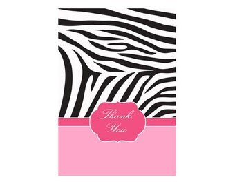 Zebra Two Tone Pink Thank You Note Cards - Personalized