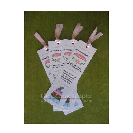 Story Book Baby Shower Favor Tags Library Shower Bookmarks