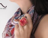 Handmade Pink Zipper Flower Adjustable Ring - Gift Under 10