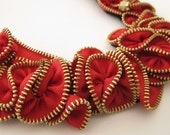 Summer Collection - Bright Red Zipper Flower Necklace