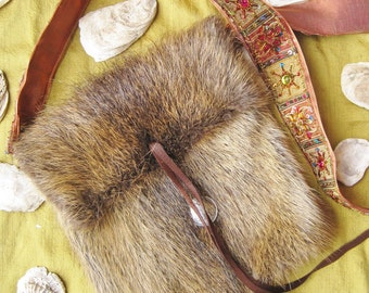 Messenger Nutria Fur Bag with Boho Strap
