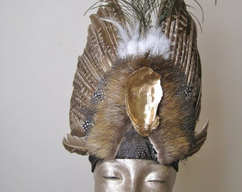 Headdress - Nutria and Oyster Shell Crown