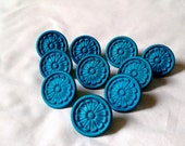 Teal Turquoise Painted - VINTAGE Dresser Drawer Pull Knobs - Collection of 10