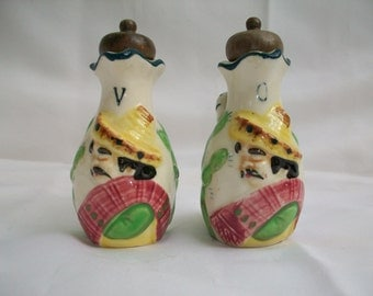 Vintage Colorful Ceramic Cruet Set