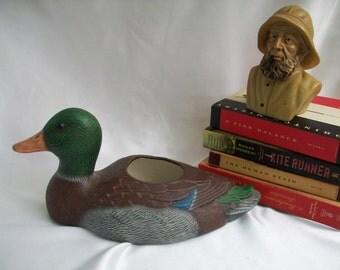 Large Ceramic Duck Planter---Mancave Worthy