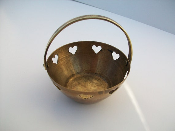 Found Objects   Small Rustic Brass Basket