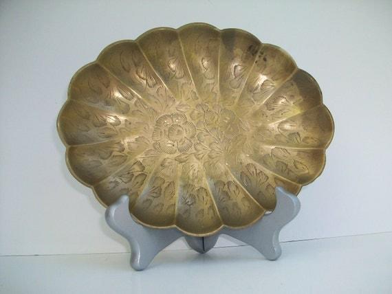 Vintage Oval Brass Tray
