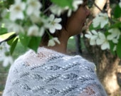 white knitted  estonian lace scarf