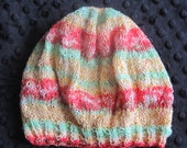 Hand Knitted Mint Green Orange and Yellow Beret Hat - 18-24 months Ready to Ship