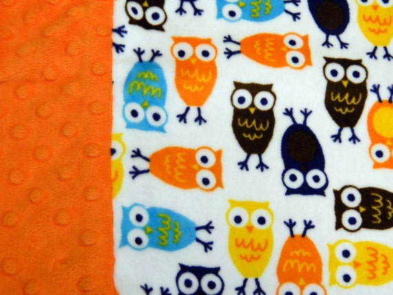 Travel Pillowcase Owl Print Minky with Orange Dimple Dot Minky Border - great for Toddlers or Teens