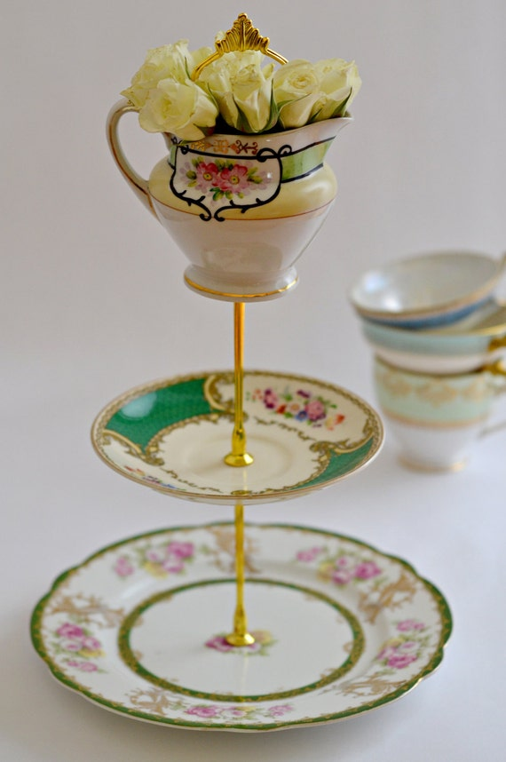 Free Shipping - Vintage Beautiful Green Band Tea STand by Ellya ON SALE