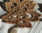 Large Lace Flower Earrings with Pearly Beads