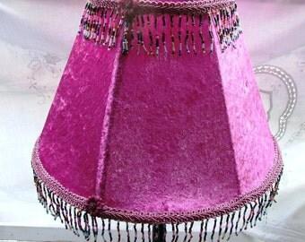 Fuchsia Velvet Table Lamp with Beads-