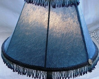 Table Lamp - Light Blue Velvet with Beads