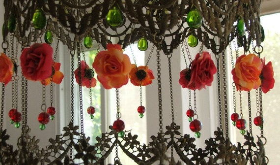 Hanging Lamp Shade - Joyful Floating Roses