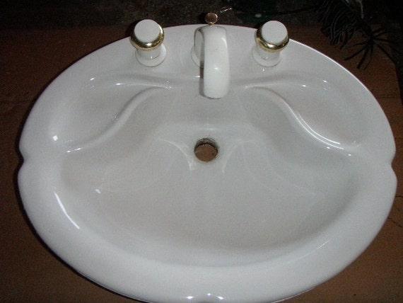 Vintage Jacob Delafon Porcelain Bathroom Sink French